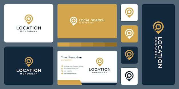 Pin logo, location and magnifying glass logo. business card design.