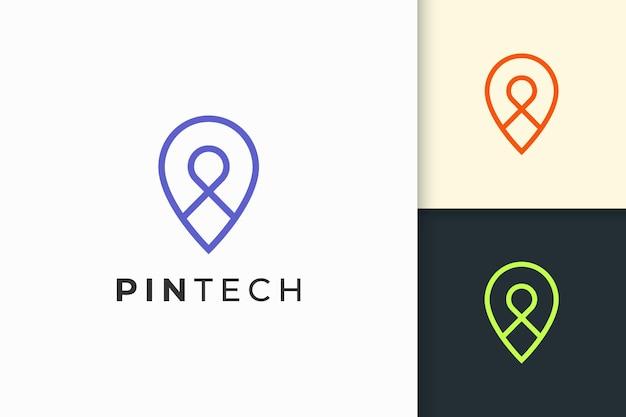 단순한 선과 현대적인 모양의 핀 로고 또는 마커는 지도 또는 위치를 나타냅니다.