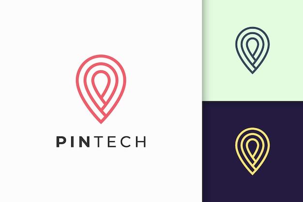 단순한 선과 현대적인 모양의 핀 로고 또는 마커는 기술을 나타냅니다.