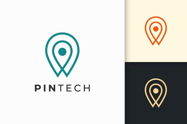 Булавочный логотип или маркер простой линии и современной формы олицетворяют технологии