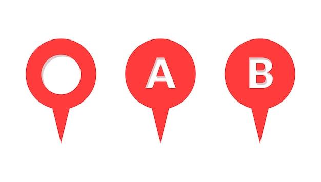 Pin map place location icon set. navigation position pointer marker destination label element. vector flat illustration