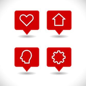 Указатель карты булавки с шестеренкой дома сердца и набором человеческой головы