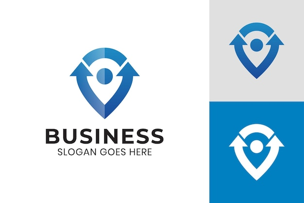 Pin map symbol with up arrow icon for directions, sign, mark or business start up logo template