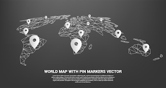 Pin Marker with polygon world map