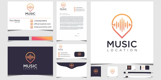 Pin music location logo design stationery