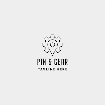 Pin navigation logo design template
