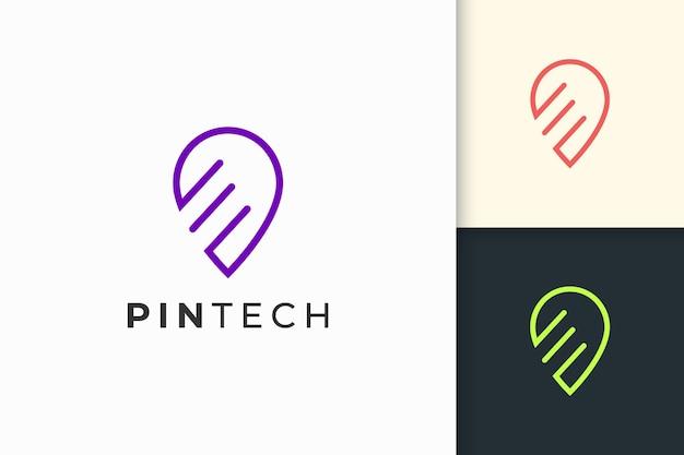 Логотип в виде булавки или точки в простой линии и современной формы для технологической компании