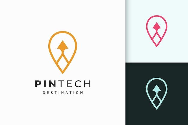 기술 회사를 위한 단순한 선과 현대적인 모양의 핀 또는 포인트 로고