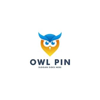Дизайн логотипа сова булавки