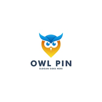 Pin owl logo design