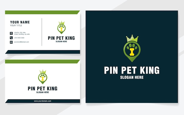 Шаблон логотипа pin pet king в современном стиле