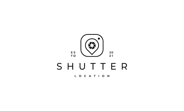 Pin photo camera logo design vector illustration