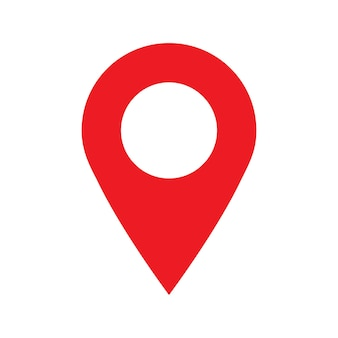 白い背景で隔離の赤い地図の場所のポインター記号とピンポイントアイコン