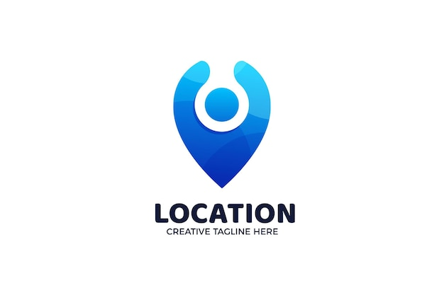 Pin point location gradient logo template