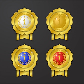 Pin realistic gold medal with ribbon and star flower premium quality