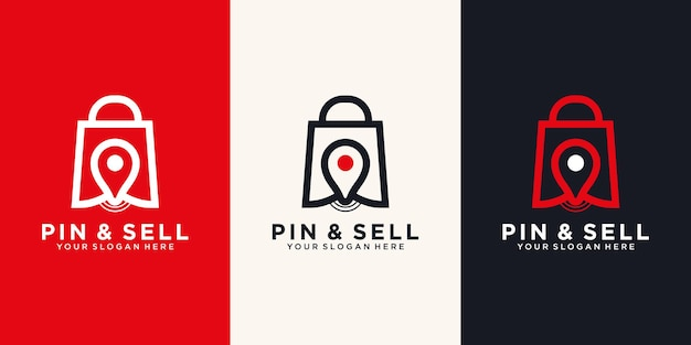 Pin & sell icon logo design template.