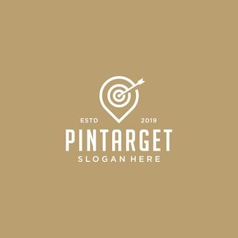 Pin symbol with dartboard logo vector