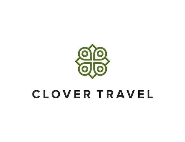 Булавка путешествия и клевер контур простой гладкий креативный геометрический современный дизайн логотипа