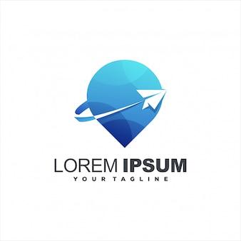 Дизайн логотипа самолета путешествия булавки