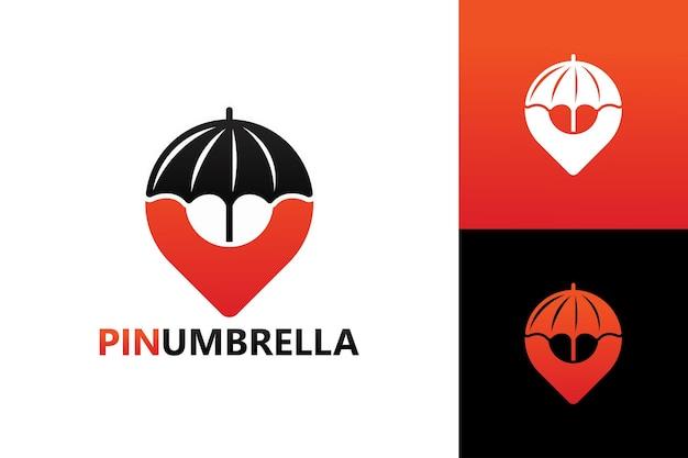 ピン傘、ロゴテンプレートプレミアムベクトルを保護します