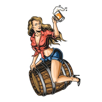 Pin up girl on beer wooden barrel with mug of foamy drink in vintage style isolated