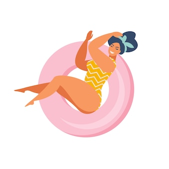 Pin up girl on inflatable swimming pool float