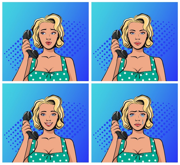 Pin up old retro style woman talking phone and feeling different emotions