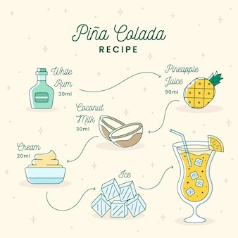 Pina colada cocktail recipe design