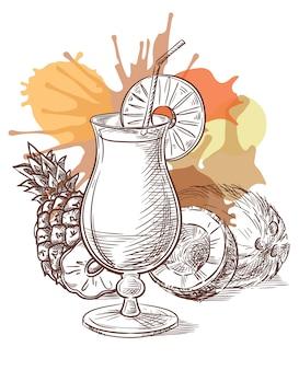 Pina colada cocktail vector sketch