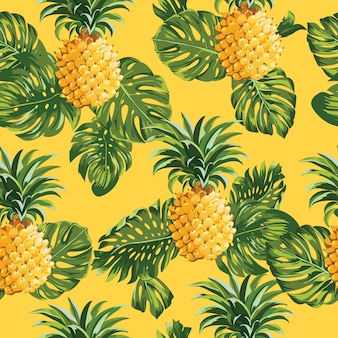 Pinapples and tropical leaves vintage seamless pattern