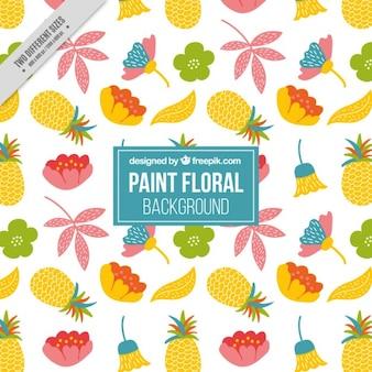 手がpinapplesと花の背景を描か