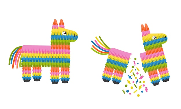 Pinata donkey whole and broken traditional mexican toy with candies for birthday party
