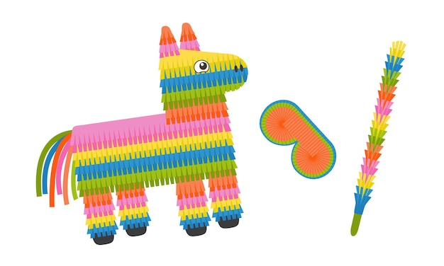 Pinata donkey with eye mask and stick colorful pinata toy with sweets and candies for birthday party