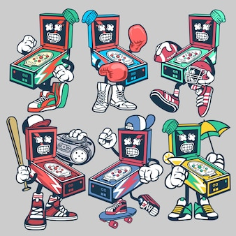 Pinball cartoon character set