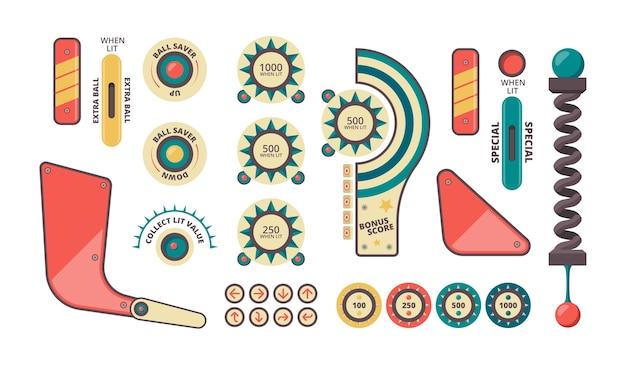 Элементы пинбола. кнопки монеты плунжер декоративные тени и формы для игрового автомата векторный набор пинбол. машина аркадная игра, бампер и рогатки иллюстрация пинбол