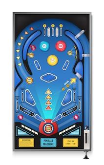Игровой автомат для пинбола, реалистичный вид сверху со стрельбой снова, мигающие огни, игровое поле, рампы, прядильщики, иллюстрация