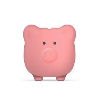 돼지 모양의 핑크 돼지 저금통. 돈을 위한 돼지 저금통. 외딴.