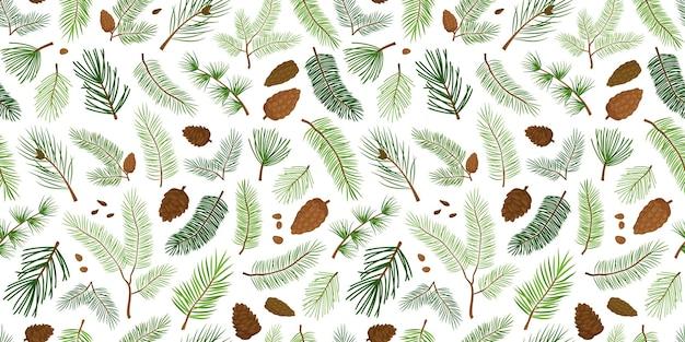 소나무와 분기 전나무 원활한 패턴 나무와 원뿔 상록수 크리스마스와 새 해 배경