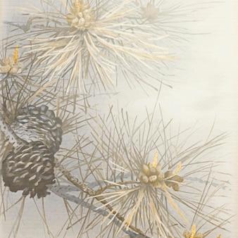 灰色の背景にパターン化された松と針葉樹の円錐形