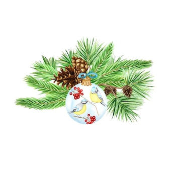 소나무 가지와 콘, 빨간 완, 겨울 새와 크리스마스 유리 공 푸른 가슴 꽃다발 구성, 수채화 손으로 그린 그림