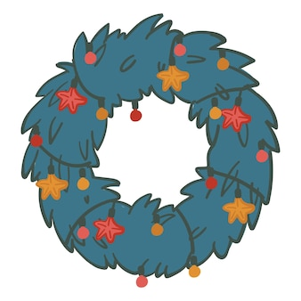 Pine branches wreath with glowing garlands and stars, decorative circle of juniper twigs for xmas. christmas and new year celebration, evergreen fir symbolic for winter. vector in flat style
