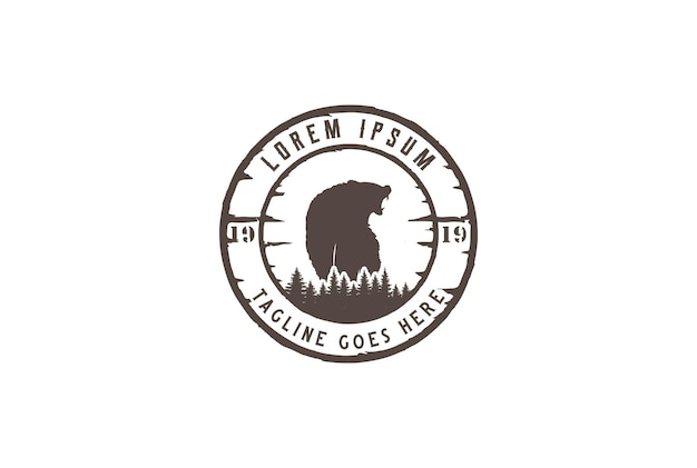 Pine cedar spruce conifer fir evergreen larch cypress hemlock trees forest with roaring ice polar grizzly bear for outdoor camping adventure logo design vector
