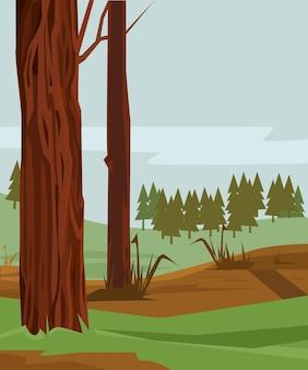 松の色とりどりの森。ベクトルフラット漫画イラスト