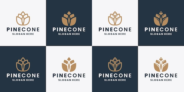 Pine cone logo design collections flat style and line art vector