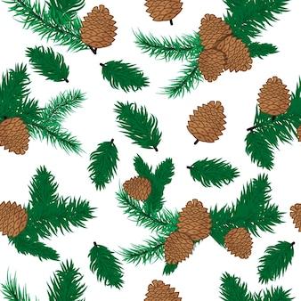 소나무 콘 완벽 한 패턴 크리스마스 장식입니다. 자연 소나무 콘 장식 가문비나무 크리스마스 녹색 숲 요소입니다. 에버그린 홀리데이 솔방울 가지 세트. 삼림 식물 상록 소나무 가지.