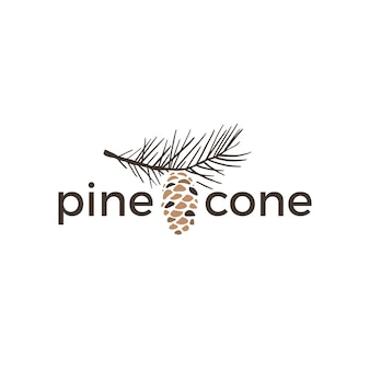 Pine cone vintage retro logo  icon illustration