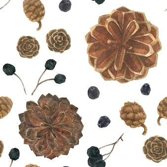 Pine cones and berries in a white snow field, watercolor seamless pattern
