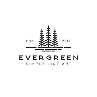 Pine evergreen fir hemlock spruce conifer cedar coniferous cypress larch pinus tree forest vintage retro hipster line art logo