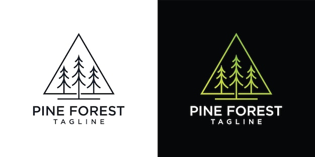 Сосна вечнозеленая или хвойный кедр, хвойная кипарисовая лиственница, шаблон дизайна логотипа