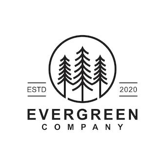 松常緑または針葉樹杉針葉樹サイプレスカラマツ、松の木の森ヴィンテージラインアートのロゴデザインテンプレート